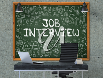 Hand Drawn Job Interview on Green Chalkboard. Modern Office Interior. Gray Concrete Wall Background. Business Concept with Doodle Style Elements. 3D.