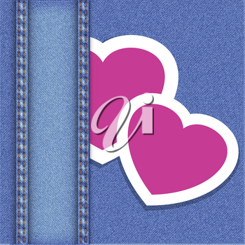 Royalty Free Clipart Image of a Lace Jean and Heart Background