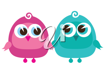 Royalty Free Clipart Image of Two Birds