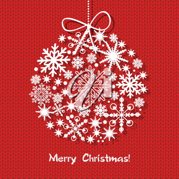 Holiday greeting card Merry Christmas and Happy New Year 2015.with christmas snowflake