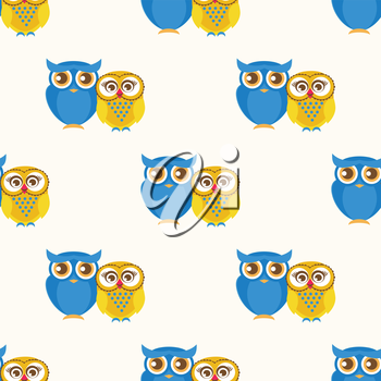 Cute seamless pattern with owls couple. Blue and yellow owls. Vector illistration.