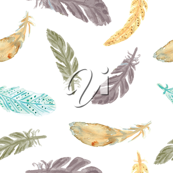 Watercolor feathers seamless pattern. Watercolor painted  ethnic texture. Native seamless pattern