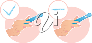 Vector illustration of Woman's hand holds a test on pregnancy