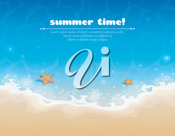 Vector illustration of Summer background with sand and water