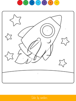 Educational children game. Color the picture by number. Coloring book