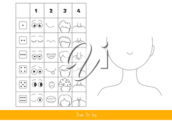Game for kids with dice. Roll the dice and draw a boy.
