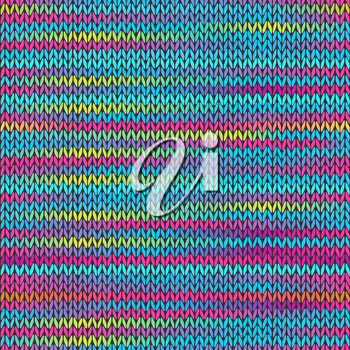Style Seamless Knitted Melange Pattern. Blue Yellow Pink Color Vector Illustration