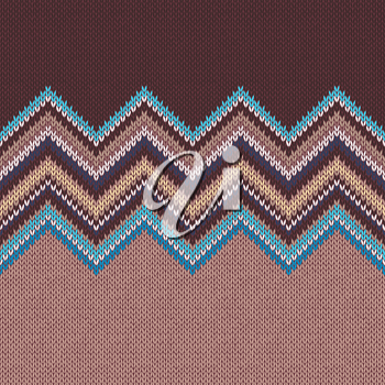 Seamless knitting pattern with wave ornament in brown beige blue white yellow color
