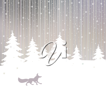 Christmas background with fox and winter spruce tree in evening winter forest. Vector card