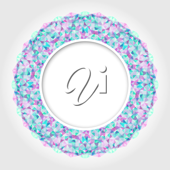 Abstract White Round Frame with Light Color Digital Border