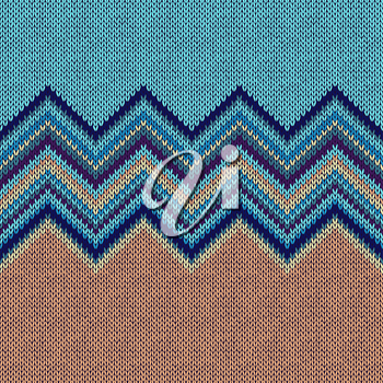 Seamless knitting Christmas pattern with wave ornament in  blue yellow beige color