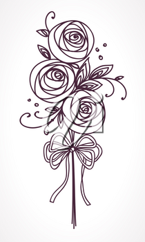 Flower bouquet. Stylized roses outline hand drawing. Present for wedding, birthday