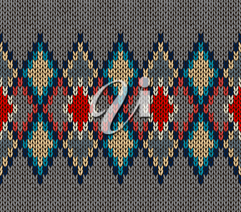 Seamless Knitted Pattern. Red Blue White Grey Color. Fashionable youth modern style.