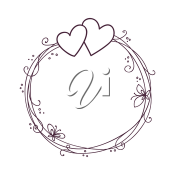 Valentine's day frame. Wedding vector background with two hearts.
