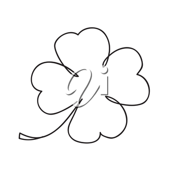 Saint patrick clover leaf, Continuous line art vector illustration