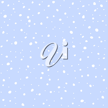 Falling snow seamless pattern. White snow and blue sky vector background. Winter snowfall.