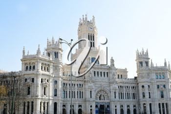 MADRID-SPAIN-FEB 19, 2019: The Cybele Palace (Palacio de Cibeles), formerly the Palace of Communication   until 2011, is a palace located on the Cybele Plaza in Madrid, Spain.