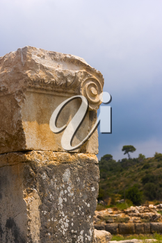The detail of the ancient Lycian structure in Patara, Turkey.