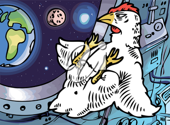 The lone brave chicken in a cabin of a space ship is looking at his home planet. Editable vector EPS v9.0