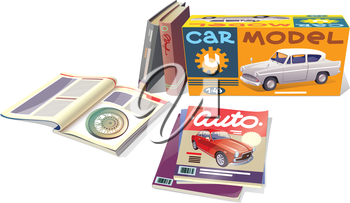 The technical magazines, the professional books and the car model are placed on a white background. This is the editable vector EPS which has a version v10.0.