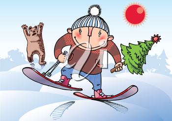 The young man on skis is running away from the wild bear. He had stole a Christmas tree!