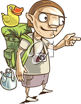 The backpacker with the all staff he needs in his journey.This is the editable vector image saved in EPS file. Rate it if you like it!