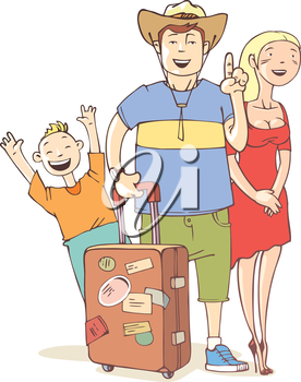 The happy tourist's family - father, mother and their little son are ready to vacation.