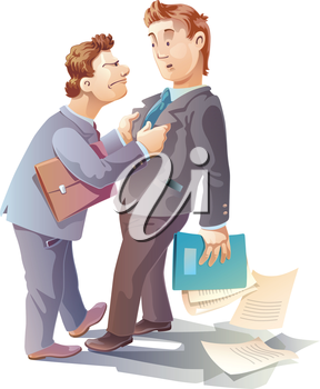 Royalty Free Clipart Image of a Businessman Grabbing Another Man's Suit