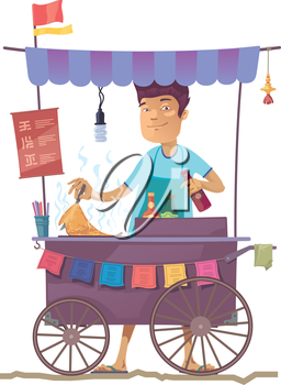 The smiling young asian cook is preparing the tasty pancake on his outdoor mobile street kitchen. He is looking at camera.  The hieroglyphs in the menu are only stylization.