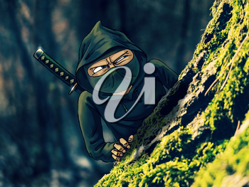 A mixed technique raster illustration of ninja the shadow warrior, looking out from behind a tree.