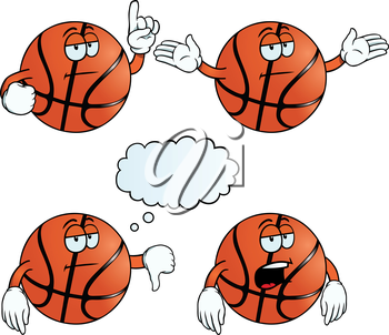 Royalty Free Clipart Image of Bored Basketballs