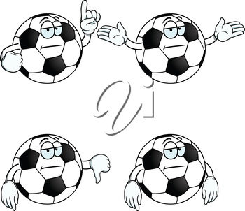 Royalty Free Clipart Image of Bored Soccer Balls