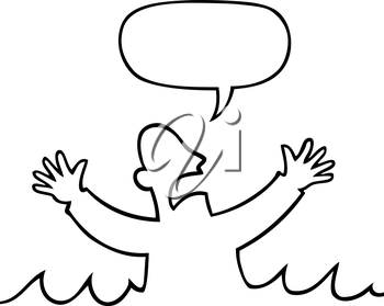 Royalty Free Clipart Image of a Man Shouting in The Water