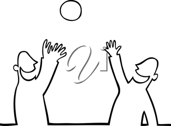 Royalty Free Clipart Image of Two People Playing with a Ball