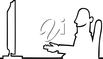 Royalty Free Clipart Image of a Man Watching Tv