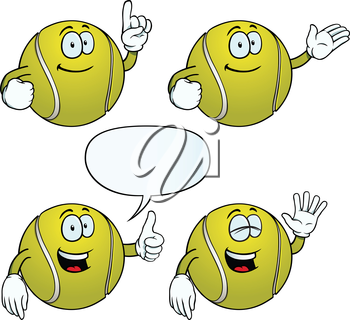 Royalty Free Clipart Image of Happy Tennis Balls