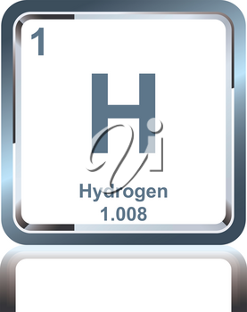 Symbol of chemical element hydrogen as seen on the Periodic Table of the Elements, including atomic number and atomic weight.