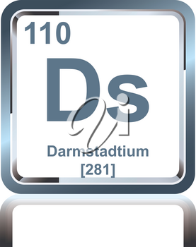 Symbol of chemical element darmstadtium as seen on the Periodic Table of the Elements, including atomic number and atomic weight.