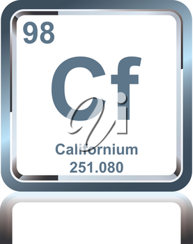 Symbol of chemical element californium as seen on the Periodic Table of the Elements, including atomic number and atomic weight.