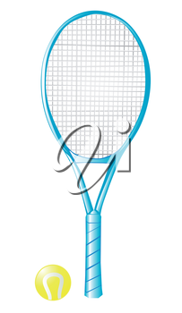 tennis racket with ball isolated on the white background