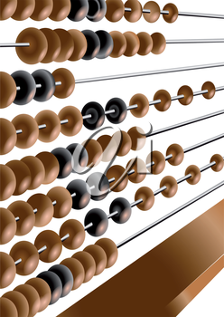wooden abacus isolated on the white background