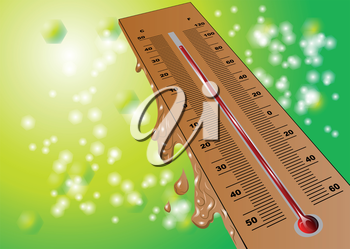 summer heat. thermometer on green summer background