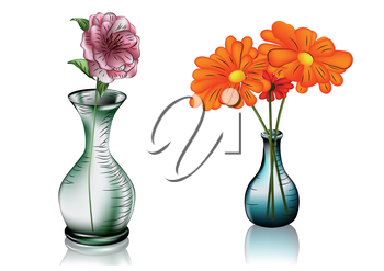 Royalty Free Clipart Image of Two Vases With Flowers