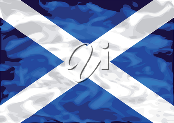 scottish flag. flag of Scotland on satin texture