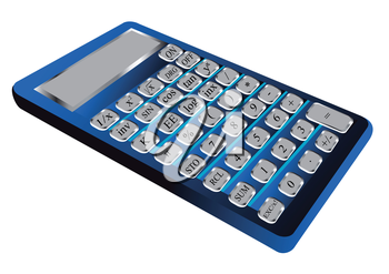 blue calculator with a grey button isolated on white