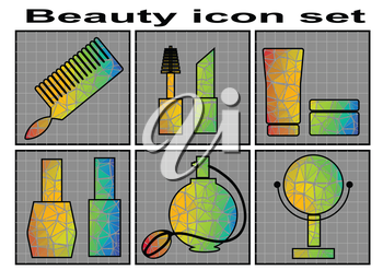 Beauty icon set. woman Beauty  colorful vector icons