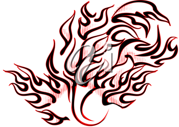 abstract tattoo flames isolated on white background