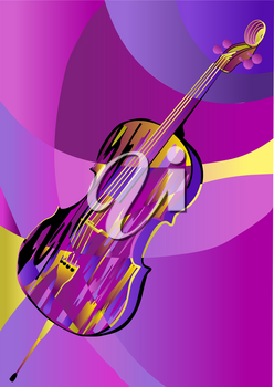 cello on abstract background multicolor background. 10 EPS