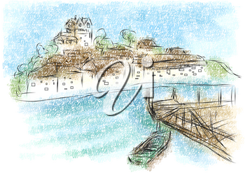 salcombe abstract illustration on a multicolor background