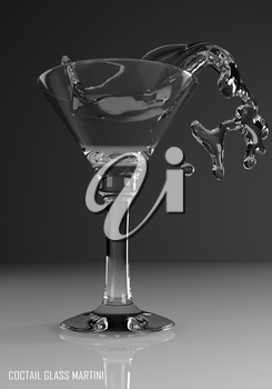 coctail glass martini 3D illustration on dark background